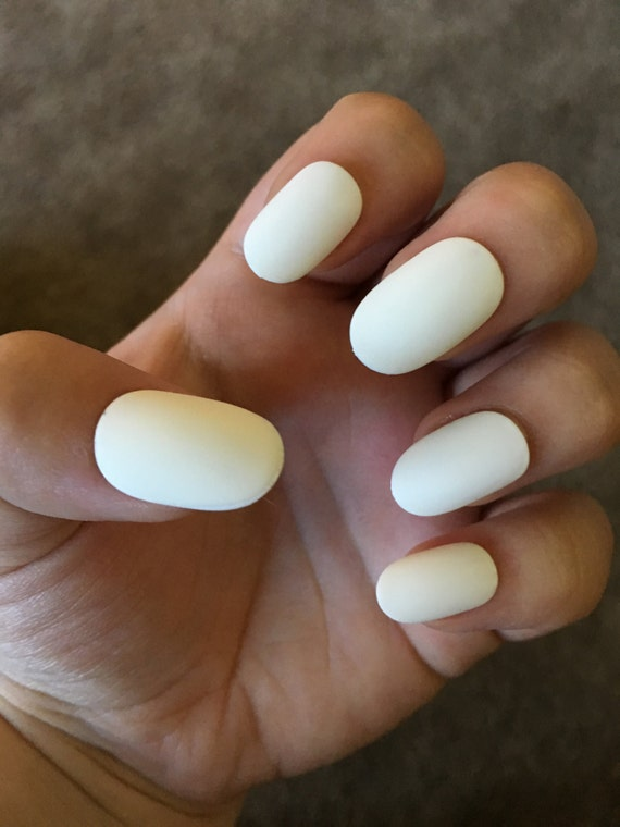 White Fake Nails Press On Glue On Nails Different Shapes   Etsy