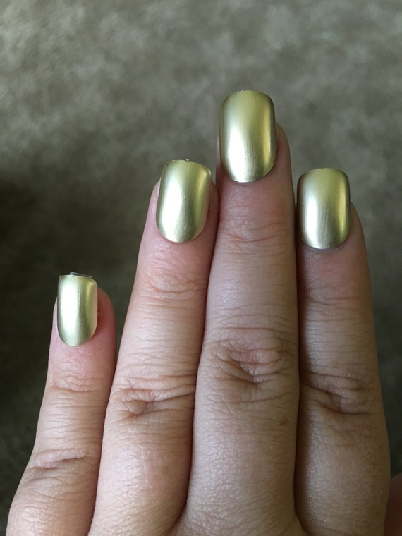 Gold Fake Nails Press On Glue On Nails Different Shapes   Etsy