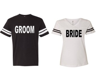 e326e1205a6 Bride and Groom Football Jerseys - Engagement Picture Shirts - Mr. and Mrs.  Shirts - Bridal Party Shirts - Husband Wife Wedding Shirts