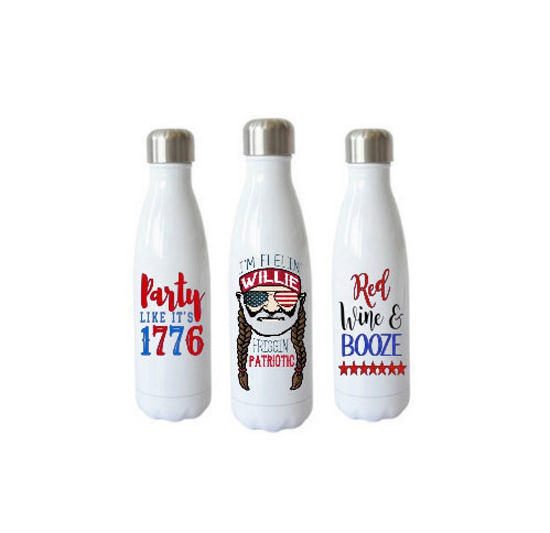 26aa57f8ff8 Patriotic Insulated Water Bottles Willie Patriotic Tumbler   Etsy