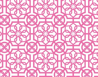 Trendy Trellis White/Pink Cotton Fabric - Bahama Breeze Collection, Fat Quarter, Fabric by the Yard, Sewing, Quilting, Cotton Fabric