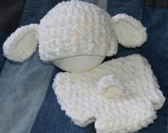 Little Lamb crochet diaper cover & hat/0-3 months/baby/cute/easter/ready to ship