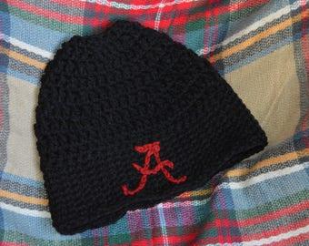 Alabama/crochet/football/messy bun/beanie/hat/adult/one size fits most/black/crimson A