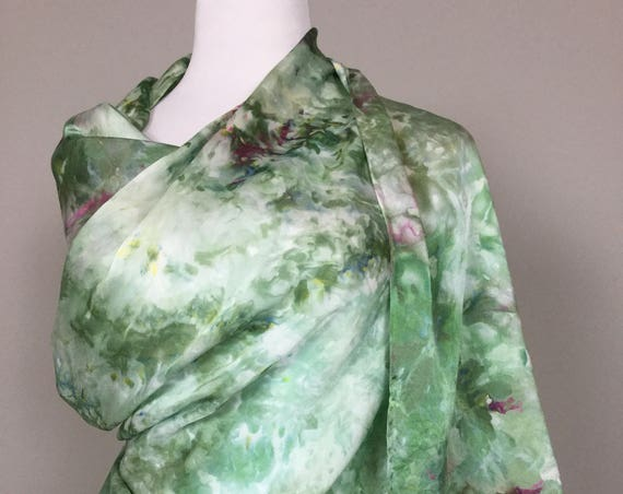 "100% Silk WRAP Ice Dyed in Beautiful Olive Sage Greens Artistic Watercolor 22""x90"" Elegant Rectangle Wrap Oblong Coworker Gift #174"