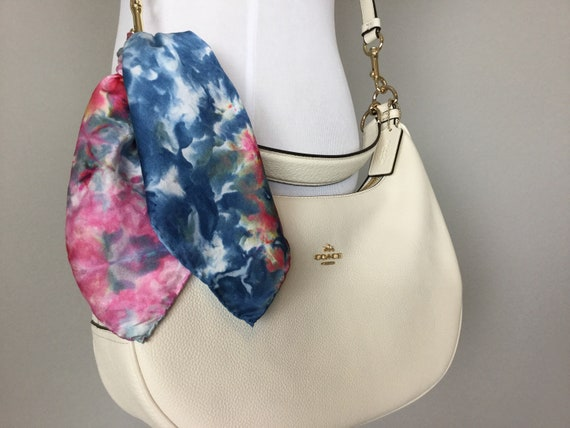"16"" Silk Purse Scarf or Luggage Identifer, 100% Silk Satin,  Ice Dye Tie Dye Red White Blue Patriotic American Texas Purse Scarves #219"