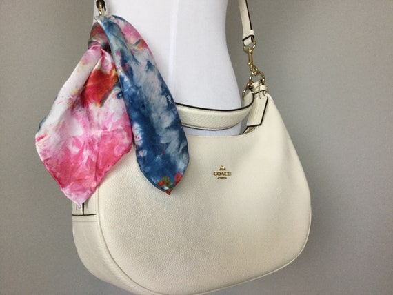 "16"" Silk Purse Scarf or Luggage Identifer, 100% Silk Satin,  Ice Dye Tie Dye Red White Blue Patriotic American Texas Purse Scarves #221"