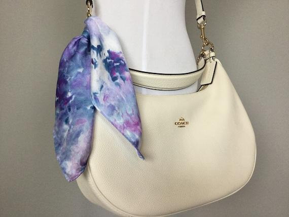 "16"" Silk Purse Scarf or Luggage Identifer, 100% Silk Satin,  Ice Dye Tie Dye Purple Blue Hydrangea Lavender Purse Scarves #215"