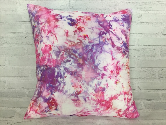 "18"" Silk Throw Pillow Cover Baby Girl Princess Pillow Ice Dyed Tie Dye Handmade Artist Zipper Covers Nursery Pink Purple #231"