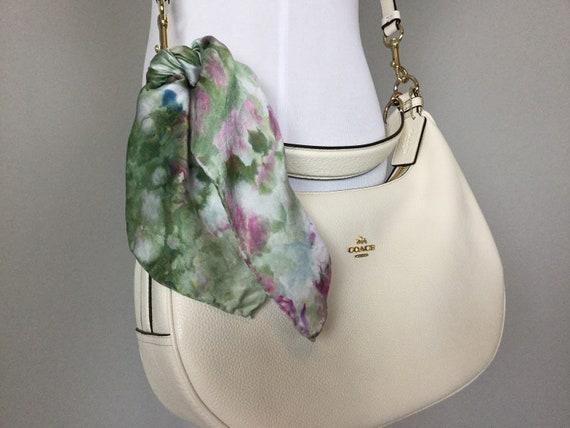 """16"""" Silk Purse Scarf or Luggage Identifer, 100% Silk Satin,  Ice Dye Tie Dye Olive Green Indigo Raspberry Purse Scarves #214"""