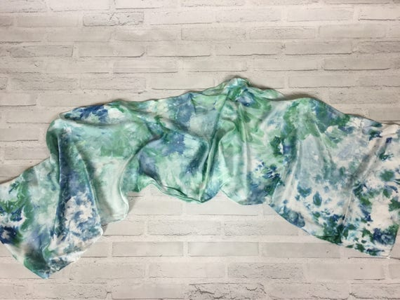 Coworker Birthday Gift! 100% Silk Oblong Scarf Hand Dyed Abstract Floral Watercolor Silk Scarves Teacher Gift Blue Green Aqua #135