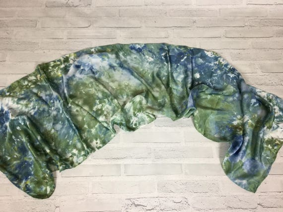 "100% Silk Scarf Ice Dyed in Beautiful Greens Artistic Watercolor Office Scarves 15""x60"" Oblong Rectangle Coworker Gift #167"