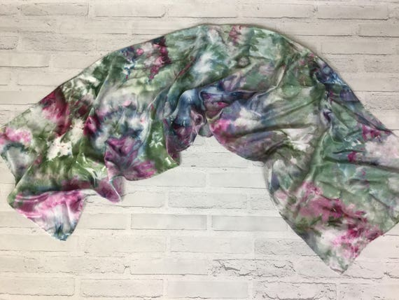 Coworker Gift! 100% Silk Oblong Scarf Hand Dyed Abstract Floral Watercolor Silk Scarves Teacher Gift Blue Indigo Red Sangria Sage color #180