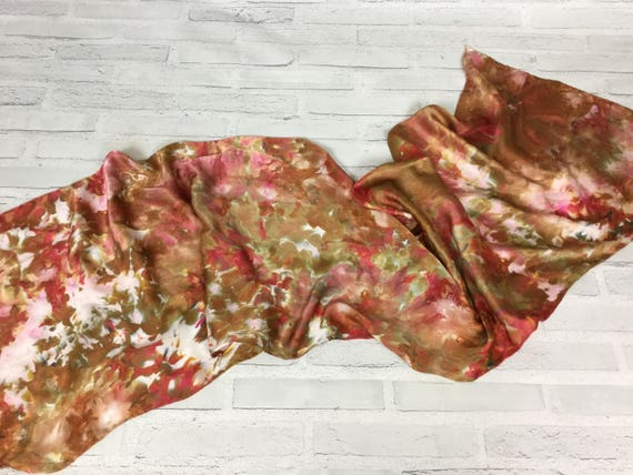 Fall Accessories - 100% Silk Oblong Scarf Hand Dyed Abstract Floral Watercolor Silk Scarves Deep Brown, Gold, Red, Olive Earth Tones #186