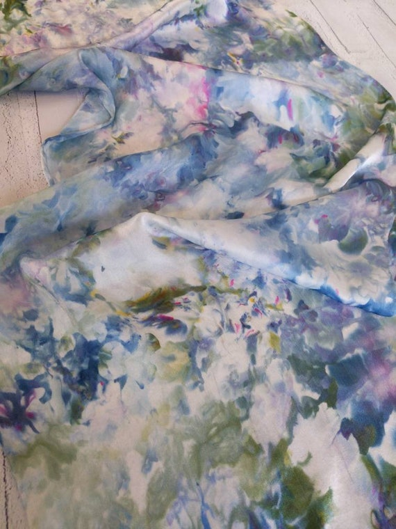 """100% Silk Scarf Ice Dyed in Beautiful Blues purples greens Artistic Watercolor Office Scarves 15""""x60"""" Oblong Rectangle Coworker Gift #350"""