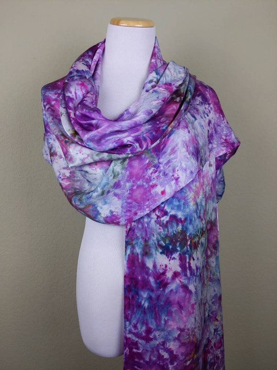 "100% Silk WRAP Plum Purple Artistic Abstract Floral Watercolor Office Scarf 22""x90"" Elegant Rectangle Office Wrap #300"