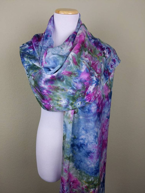 "100% Silk WRAP Jewel Tone Green Peridot Sapphire Amethyst Garnet Watercolor Statement Scarf 22""x90"" Elegant Rectangle Office Wrap #303"