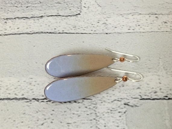 "Handmade Baby Blue Tan Ombre Enameled Copper Sterling Silver Drop Dangle Earrings 2"" Professional Jewelry Metalsmith Neutral Nude Beige #J13"