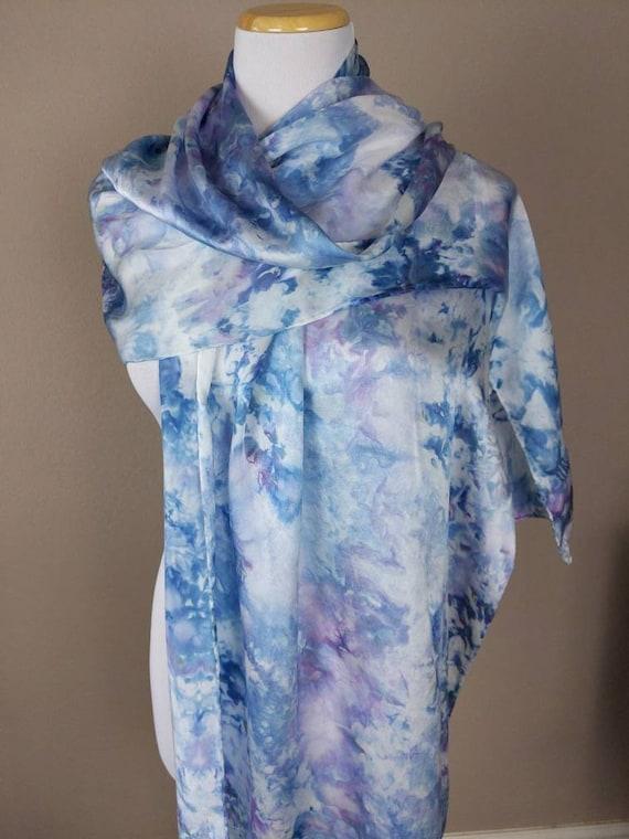 "100% Silk WRAP Watercolor Denim Blues Lavender Statement Scarf 22""x90"" Elegant Rectangle Soft Office Wrap #354"