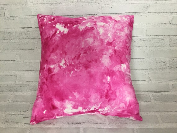 "18"" Silk Throw Pillow Cover Teen Bedroom HOT PINK Tie Dye Ice Dyed Handmade Artist Zipper Covers Bed Sofa Neon Fushia #232"