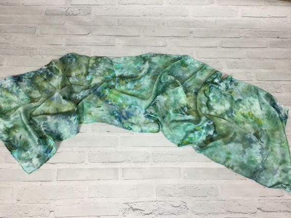 "100% Silk Scarf Ice Dyed in Beautiful Greens Artistic Watercolor Office Scarves 15""x60"" Oblong Rectangle Coworker Gift #151"
