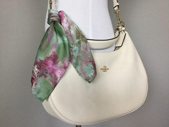 "16"" Silk Purse Scarf or Luggage Identifer, 100% Silk Satin,  Ice Dye Tie Dye Olive Green Purple Raspberry Purse Scarves #211"
