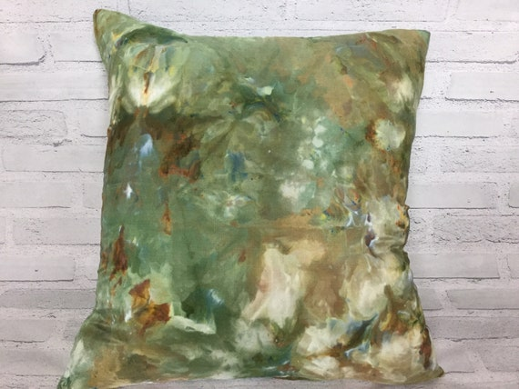 "18"" Silk Throw Pillow Cover Ice Dyed Tie Dye Handmade Artist Zipper Covers Bed Sofa Olive Green Brown Earth Tones #227"