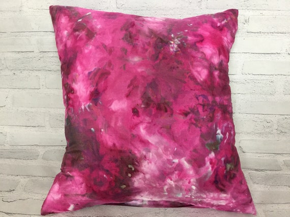 """18"""" Silk Throw Pillow Cover Teen Bedroom Ice Dyed Tie Dye Handmade Artist Zipper Covers Bed Sofa Raspberry Sangria Purple Passion #228"""