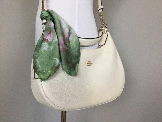 "16"" Silk Purse Scarf or Luggage Identifer, 100% Silk Satin,  Ice Dye Tie Dye Olive Green Purple Mauve Purse Scarves #210"