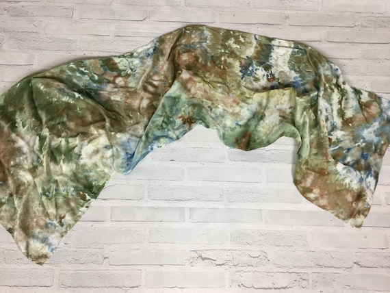 """Boss Gift for Her! 100% Silk Oblong Scarf Hand Dyed Abstract Floral Watercolor Silk Scarves Teacher Gift Olive Sage Green 15""""x60"""" #182"""