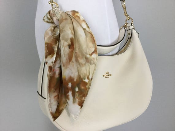 Fall Accessories Brown & Gold Purse Scarf, 100% Silk, Hand Dyed Ice Dye Artistic Purse Scarves 17""