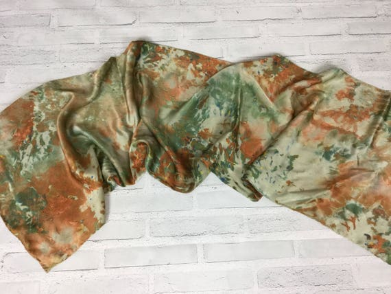 "Camouflage for the office! 100% Silk Oblong Scarf Hand Dyed Abstract Camo Watercolor Silk Scarves Copper Brown Olive Green 15""x60"" #187"
