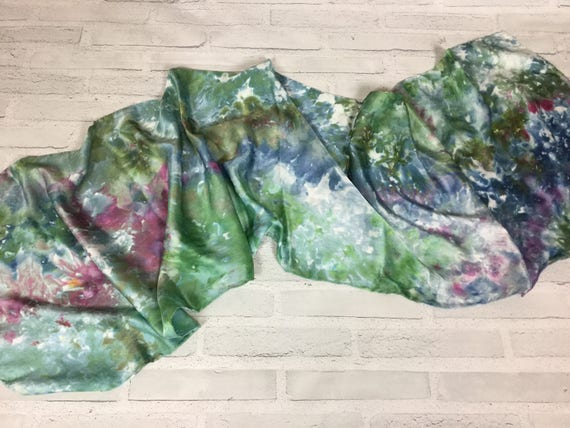 """100% Silk Scarf Ice Dyed in Beautiful Enchanted Forest Colors Artistic Watercolor Office Scarves 15""""x60"""" Oblong Rectangle Coworker Gift #170"""