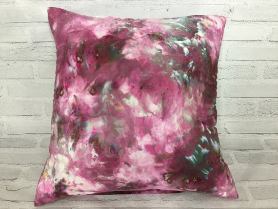 "18"" Silk Throw Pillow Cover Ice Dyed Tie Dye Handmade Artist Zipper Covers Bed Sofa Eggplant Aubergine Purple Passion #229"