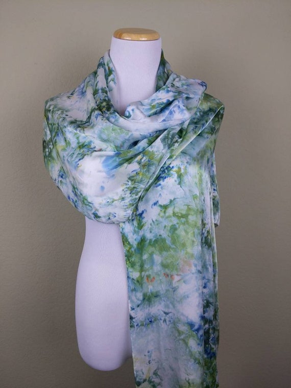 "100% Silk WRAP Green Blue Tranquil Waters Artistic Marbled Watercolor Office Scarf 22""x90"" Elegant Rectangle Office Wrap #302"