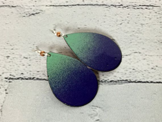 "Handmade Royal Blue & Green Ombre Enameled Copper Sterling Silver Drop Dangle Earrings 1.75"" Professional Office Accessories Metalsmith #J15"