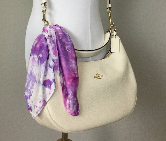 Mother's Day Gift! Spring Purse Scarf, 100% Silk, Purple Pink Lavender 17""