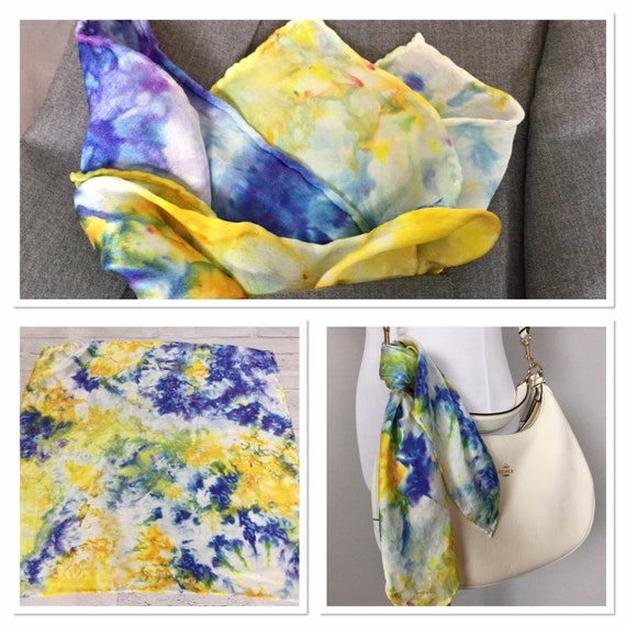 "20"" Pocket Silk Pocket Square Purse Scarf Luggage Tag 100% Silk Satin,  Ice Dye Tie Dye Blue Purple Yellow Gold Van Gogh Inspired #241"