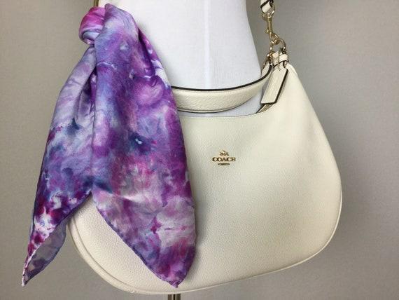 "20"" Purse Scarf or Luggage Identifer, 100% Silk Satin,  Ice Dye Tie Dye Blue Purple Pinks Purse Scarves #205"
