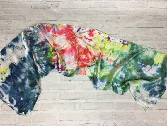 "100% Silk Scarf Ice Dyed in Beautiful PRIDE Rainbow Artistic Watercolor Office Scarves 15""x60"" Oblong Rectangle Coworker Gift #141"