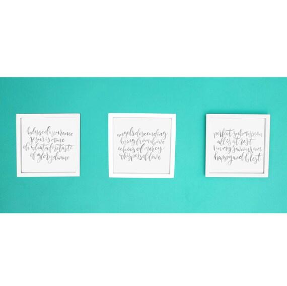 blessed assurance jesus is mine set of 3 prints etsy. Black Bedroom Furniture Sets. Home Design Ideas