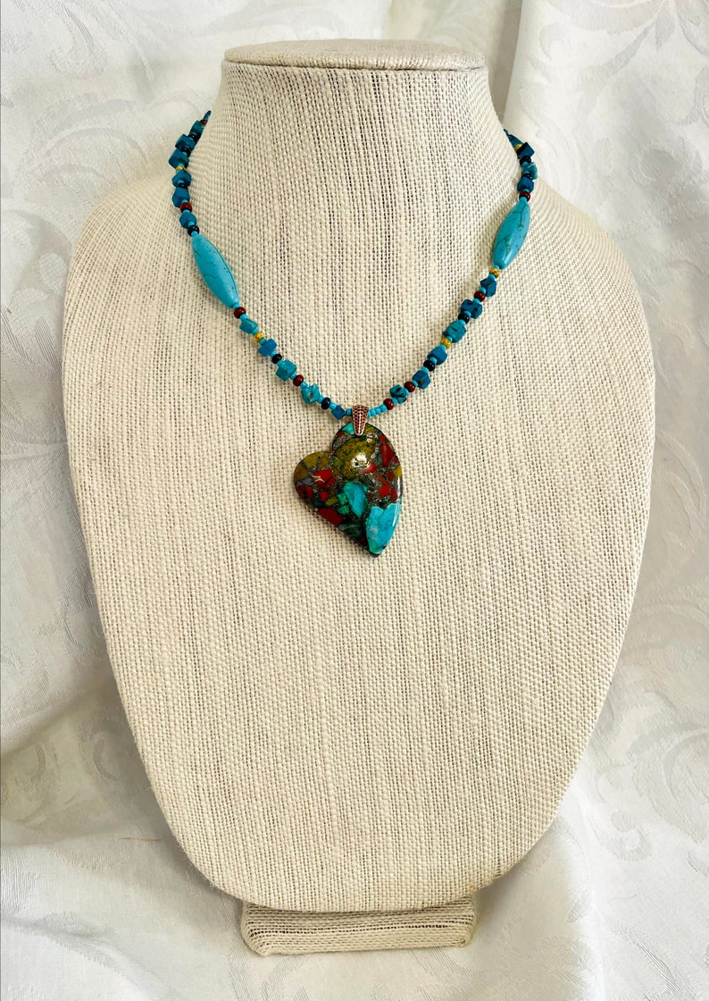 Handmade Natural Red Turquoise Jasper /& Pyrite Heart Gemstone Pendant Necklace w Turquoise Chip Beads Valentines Jewelry Beaded Necklace