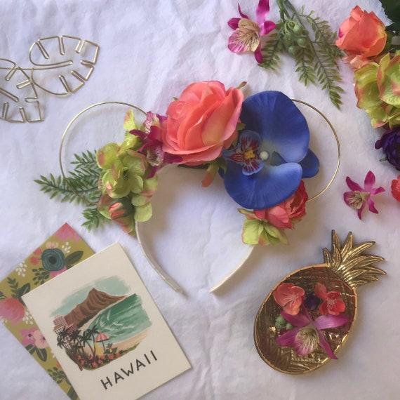 Blue Polynesian Princess Hawaiian Floral Wire Ears Headband  58f40af248cb