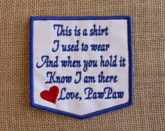 MEMORY Patch, Ready to Ship, Iron On or Sew on Memory Pillow Patch, This is a shirt Patch Love PawPaw,  Memorial Quilt Label, navy blue,