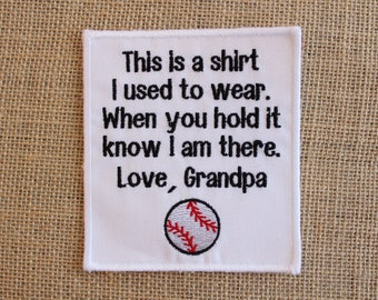 MEMORY Patch, Ready to Ship, Iron On or Sew on Memory Pillow Patch Baseball, This is a shirt Patch Love Grandpa,  white patch, black text