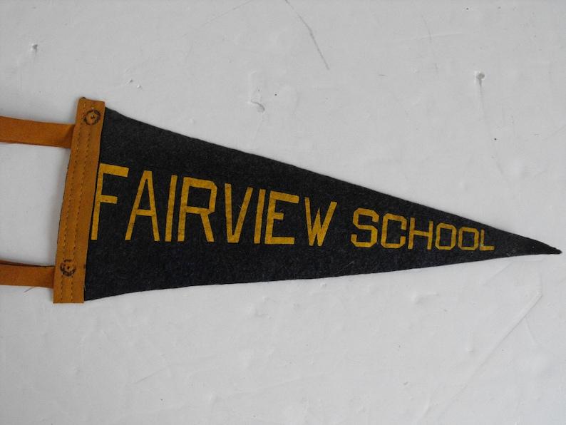 1853 Vtg Fairview School Blue and Gold Felt Pennant