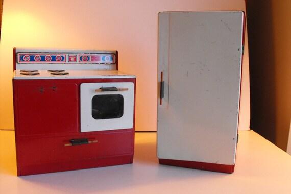 Kühlschrank Rot : Gabriel metall spielzeug herd und kühlschrank 1970 rot 754