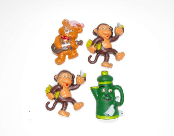 Set Of 4 Googly Eyes Refrigerator Magnets Monkeys Bear Teapot Etsy