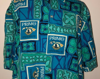 880abdcfb Vintage 80's Ui Makai Primo Beer Cowabunga Hawaiian Hawaii Surf Button Down  Oxford Shirt
