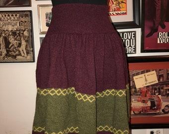 673c477445 Vintage 80' United Colors Of Benneton Lama Wool Schoolgirl Hipster Skirt  Italy