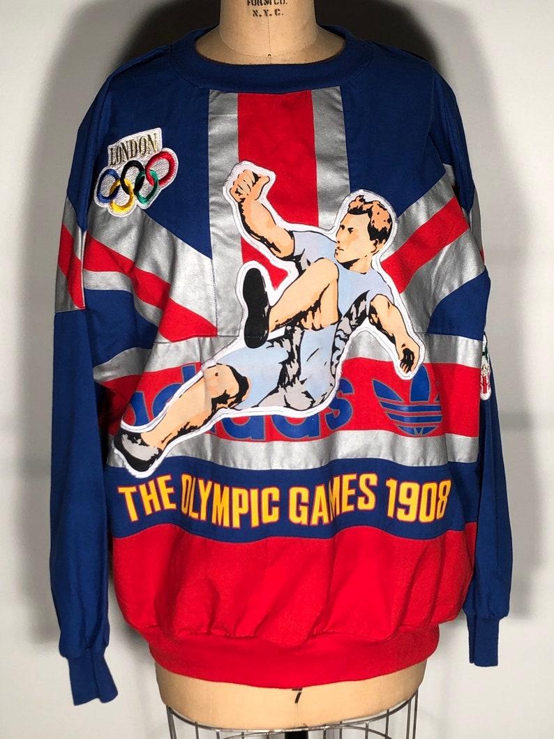 Vintage 1988 Adidas 1908 London Olympic Games 1948 Long Sleeve Union Jack UK Soccer Embroidered Patchwork Shirt Sweatshirt